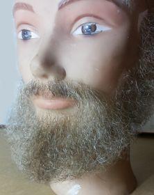 Борода с усами седая полная под заказ