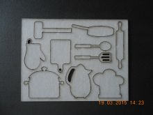 набор чипборда КУХОННЫЕ ПРИНАДЛЕЖНОСТИ размер планшетки 10*13 см толщина картона 1,5мм